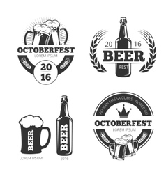 Vintage beer brewery emblems labels vector