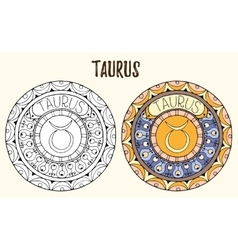 Zodiac signs theme Black and white and colored vector image vector image