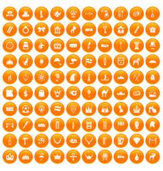 100 crown icons set orange vector