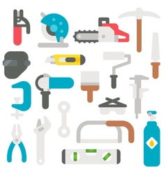 Flat design labor tools set vector