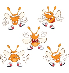 Set of funny clothes moth cartoon vector