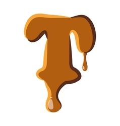 Letter t from caramel icon vector