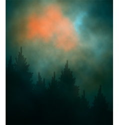 Dark sunset forest vector