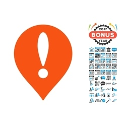 Danger Map Pointer Icon with 2017 Year Bonus vector image