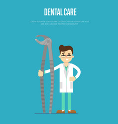 Dental care banner with male dentist vector
