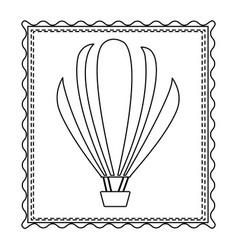 monochrome contour frame of hot air balloon vector image