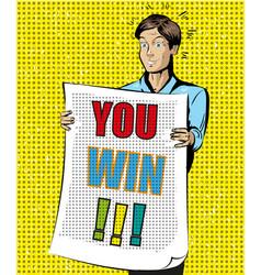 You win vintage pop art vector
