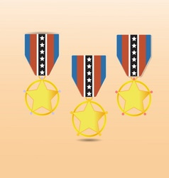 Star medal award with neck strap vector