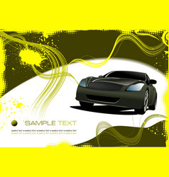 Grunge abstract yellow background with green car vector