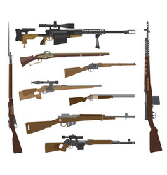 firearm set gun rifle carbine flat design vector image