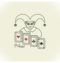 Joker and playing cards vector image