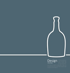 Web template logo of bottle wine in minimal flat vector