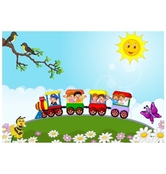 Happy kids on a colorful train vector
