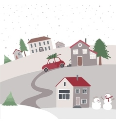 Village on the hill in winter time vector