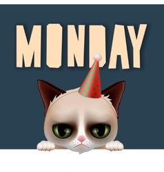 Monday morning with cute grumpy cat vector