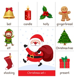 Printable flashcard for christmas set and santa cl vector