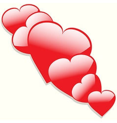 Hearts with shadow background vector image
