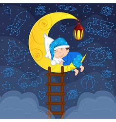 Baby boy sleeping on moon among stars vector