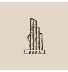 Skyscraper office building sketch icon vector