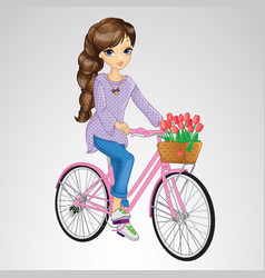 Girl riding on pink bicycle vector