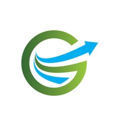 Arrow letter g round business logo vector