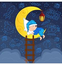 Baby boy sleeping on moon among stars vector