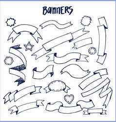 banners ink pen sketches of blue color hand drawn vector image vector image