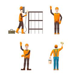 builder icon set cartoon style vector image