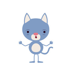 Colorful caricature of cute kitten astonished vector