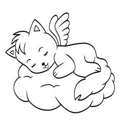 Cute sleeping angel-cat vector image