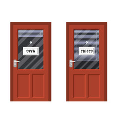 Door marked open and closed vector