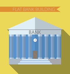 Flat design modern of bank building icon with long vector image vector image