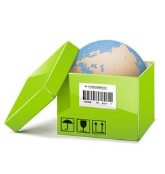 Globe in green box vector