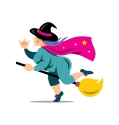 Halloween witch on a broomstick cartoon vector