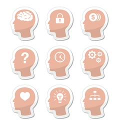 Head brain labels set vector image vector image