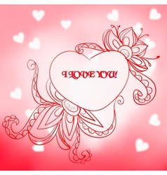 Lace heart with the inscription i love you vector