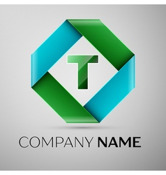 Letter t logo symbol in the colorful rhombus vector
