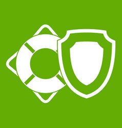 lifebuoy and safety shield icon green vector image