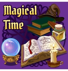 Magic set with old book candle and other elements vector image