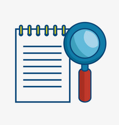 Magnifying glass and notepad icon vector