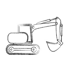 Monochrome contour hand drawing of backhoe with vector