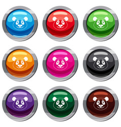 panda set 9 collection vector image vector image