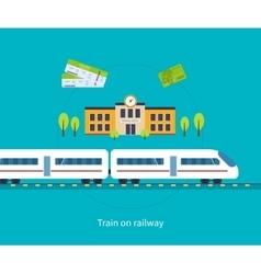 Railway station concept train on railway vector