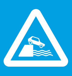 Riverbank traffic sign icon white vector
