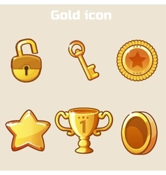 set gold icon four game vector image vector image
