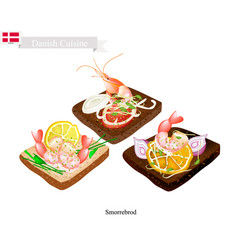 smorrebrod with shrimp the national dish of denma vector image vector image