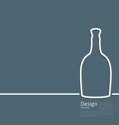 Web template logo of bottle wine in minimal flat vector image