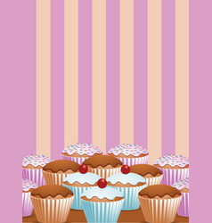 yummy cup cakes2 vector image vector image