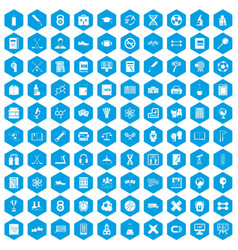 100 college icons set blue vector