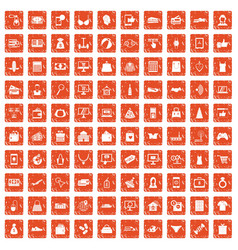100 online shopping icons set grunge orange vector image vector image